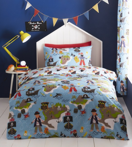 Pirate's Map Lined Curtains 66x72 - 168x183cm