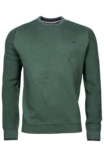 Knitted Sleeve Cotton Crew Neck