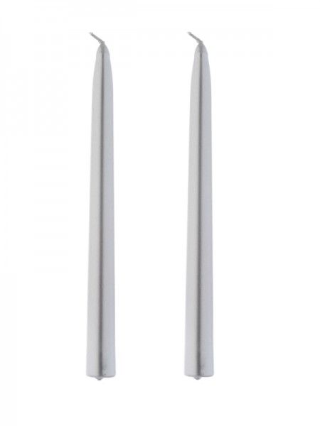Set Of 2 Dinner Candle - Metallic Silver