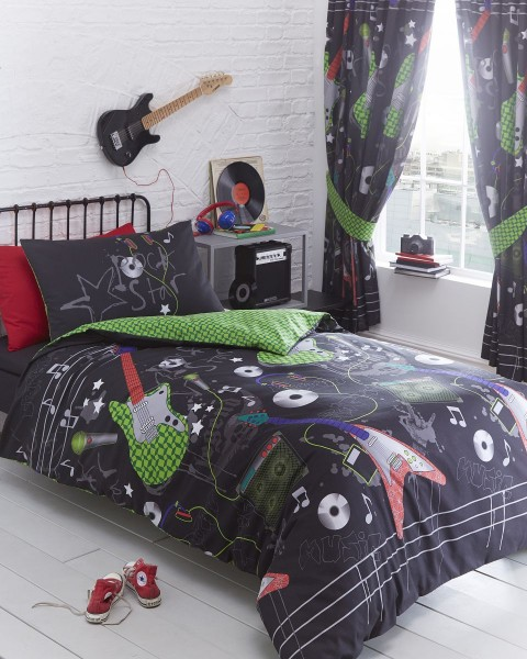 Portfolio Guitar Rock Lined Curtains 168x183cm
