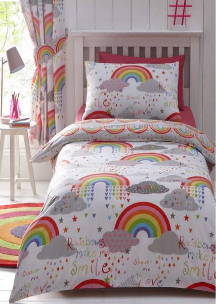 Kid's Club Clouds and Rainbows Pencil Pleat Lined Curtains 168 x 183cm