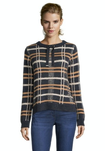 Knitted Check Crew Neck