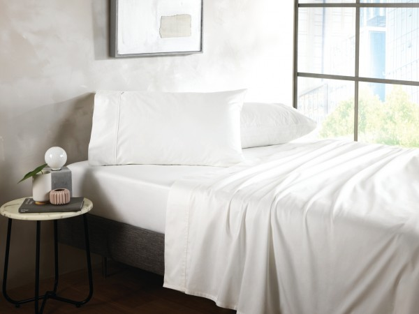 500TC Cotton Sateen Fitted Sheet - Snow