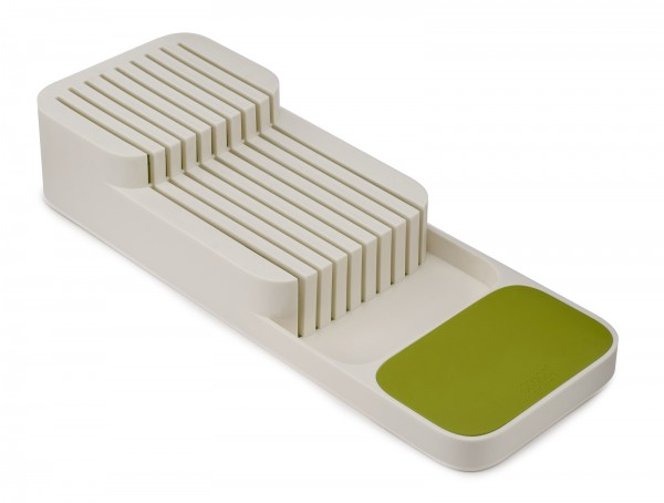 DrawerStore Compact 2-Tier Knife Organiser - White/Green