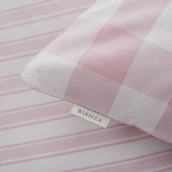 Bianca Check And Stripe Pink Fitted Sheet Double