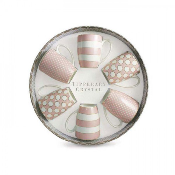 Tipperary Crystal Hat Box Set of 6 Mugs - Spots & Stripes Pink