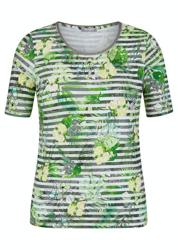 Short Sleeve Floral And Stripe Print T-Shirt