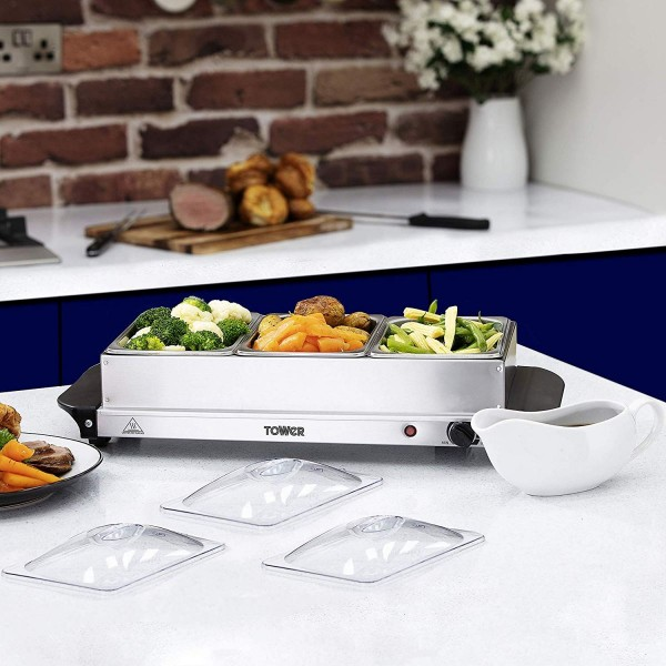Tower Three Tray Buffet Sever & Plate Warmer