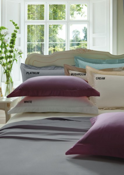 300 Thread Count Cotton Sateen Plain Dye Fitted Sheet
