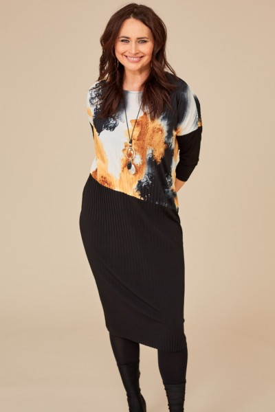 Pleat Dress With Print Overtop