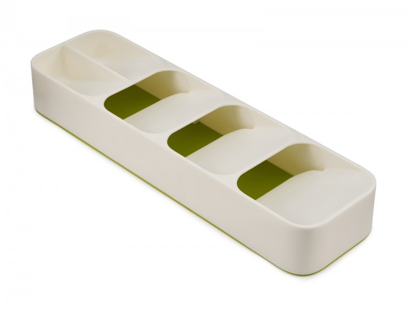 DrawerStore Compact Cutlery Organiser - White/Green