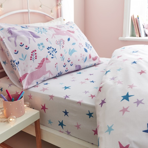 Woodland Unicorn Stars Pink Fitted Sheet - Double