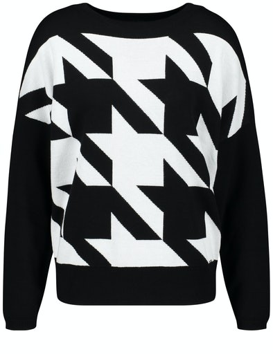 Black Addict Houndstooth Crew Knit