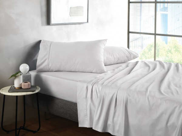 500TC Cotton Sateen Fitted Sheet - Silver