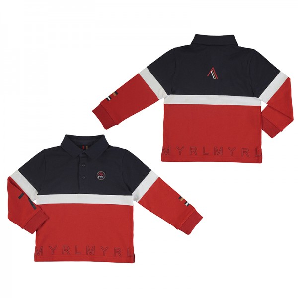 Long Sleeve 2 Tone Rugby Polo