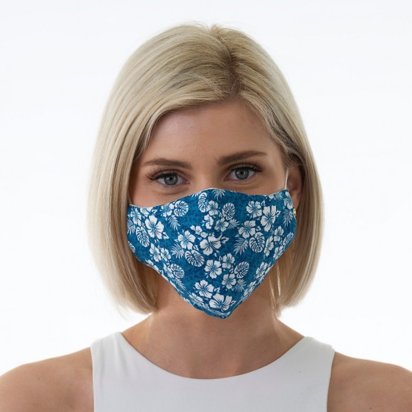 Face Mask Blue Hibiscus