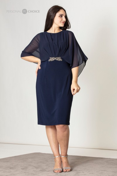 Cape Dress With Brooch