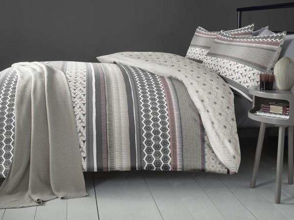 Retrace Stripe Blush Duvet Cover Set - Double