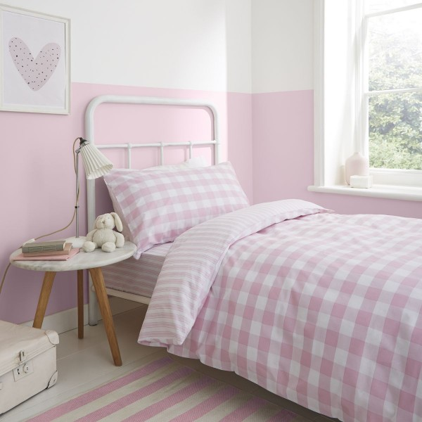 Bianca Check And Stripe Pink Duvet Cover Set Double