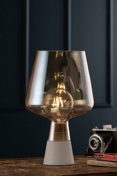 Large Glass Table Lamp - Amber