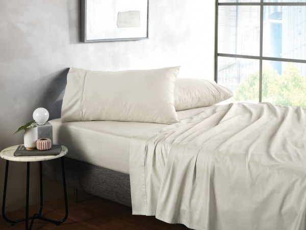 500TC Cotton Sateen Fitted Sheet - Chalk