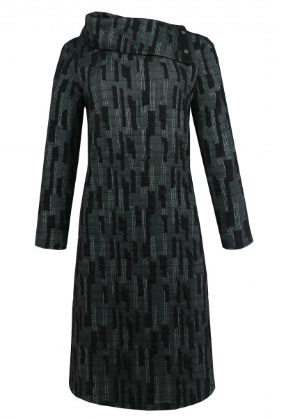 Black Textured Foldover Dress