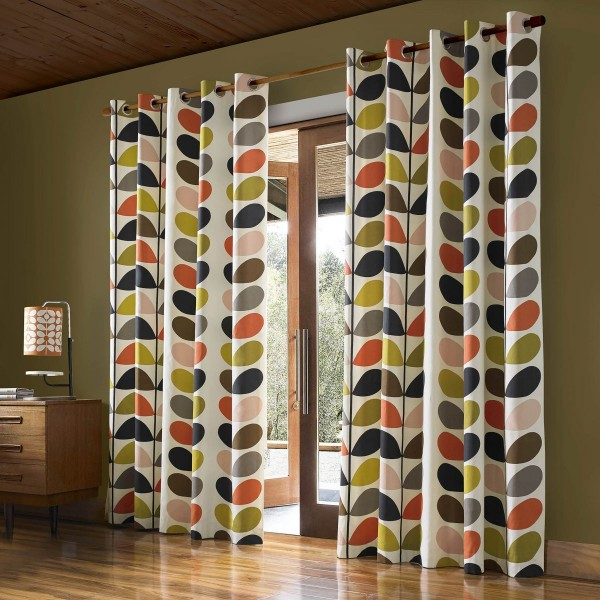 "Orla Kiely Multi Stem 90""x72"" Lined Curtains"