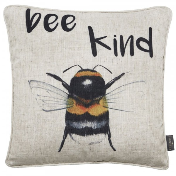 Bee Kind Cushion Embroidered on Faux Linen