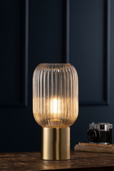 Fluted Glass Table Lamp - Amber